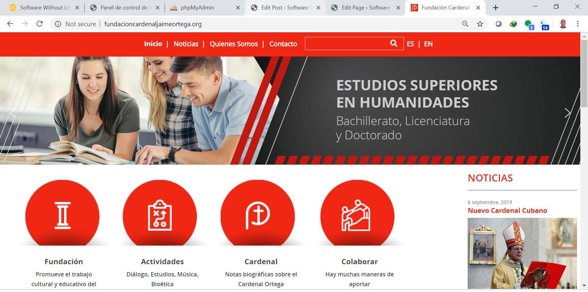 Sitio Web de la Fundación Cardenal Jaime Ortega, para sosten de las obras educativas de la Iglesia Católica en Cuba.