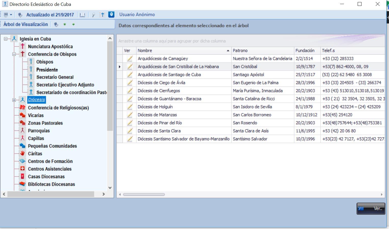 Aplicación Desktop con el directorio completo de la Iglesia Católica en Cuba.
