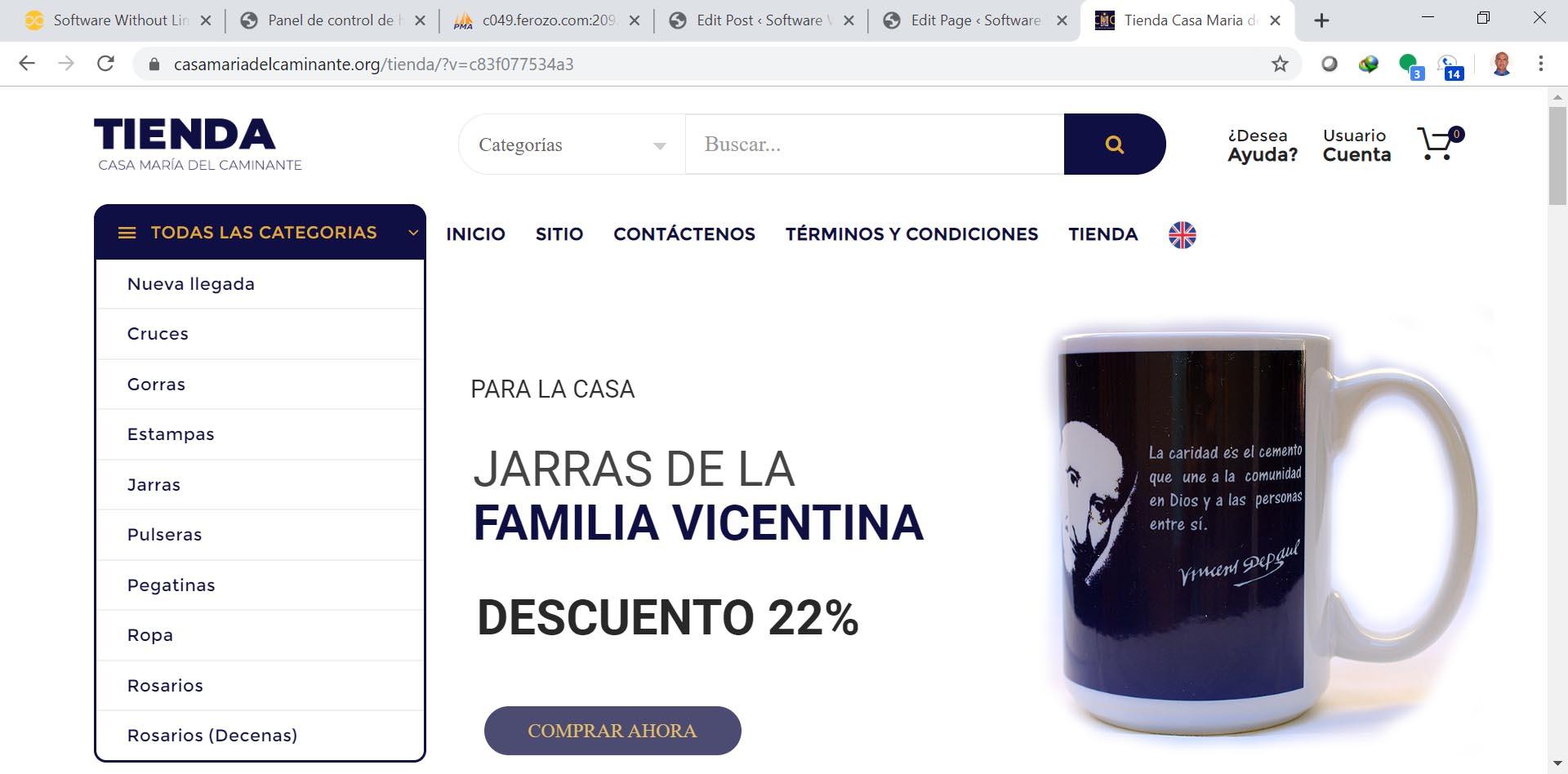 Tienda on-line de un proyecto non-profit para ayuda a inmigrantes en Miami. Diseño, desarrollo y soporte.